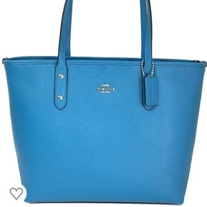 COACH Coated Canvas City Zip Tote-Bright Blue